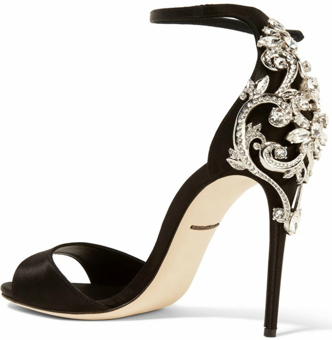 dolce and gabbana satin embellished sandals