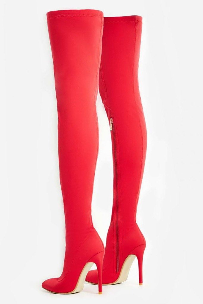 Ego Shoes Alabama Pointed Toe Long Boot In Red Lycra