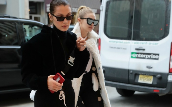 Gigi and Bella Hadid out and about in New York.