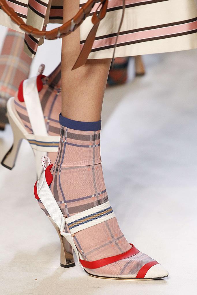 Model on the catwalk, shoe detailFendi show, Detail, Spring Summer 2018, Milan Fashion Week, Italy - 21 Sep 2017