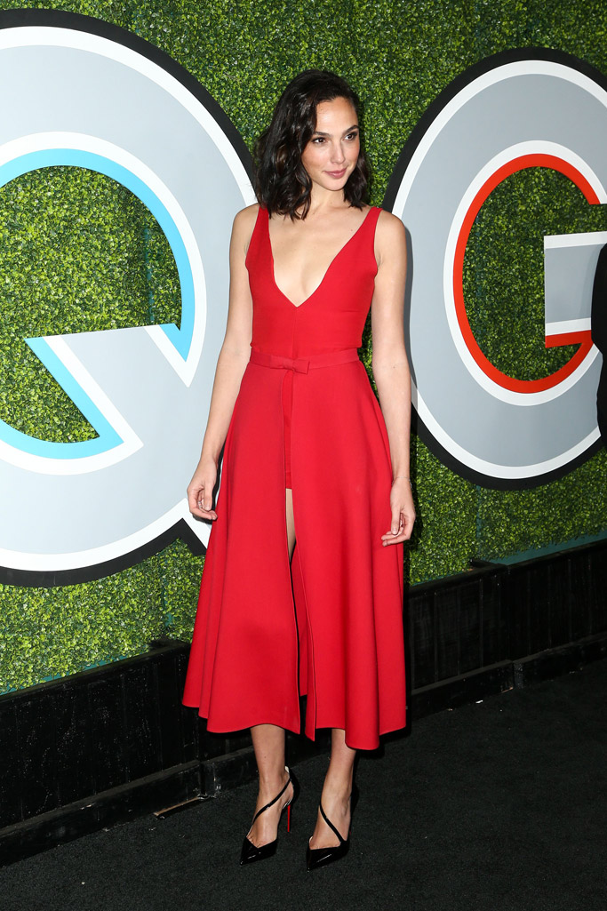 gal gadot red dress shorts gq men of the year party