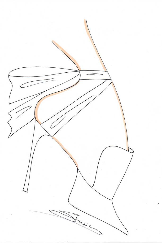 Giannico fantasy wedding shoe sketch for Meghan Markle by Nicolo Beretta.