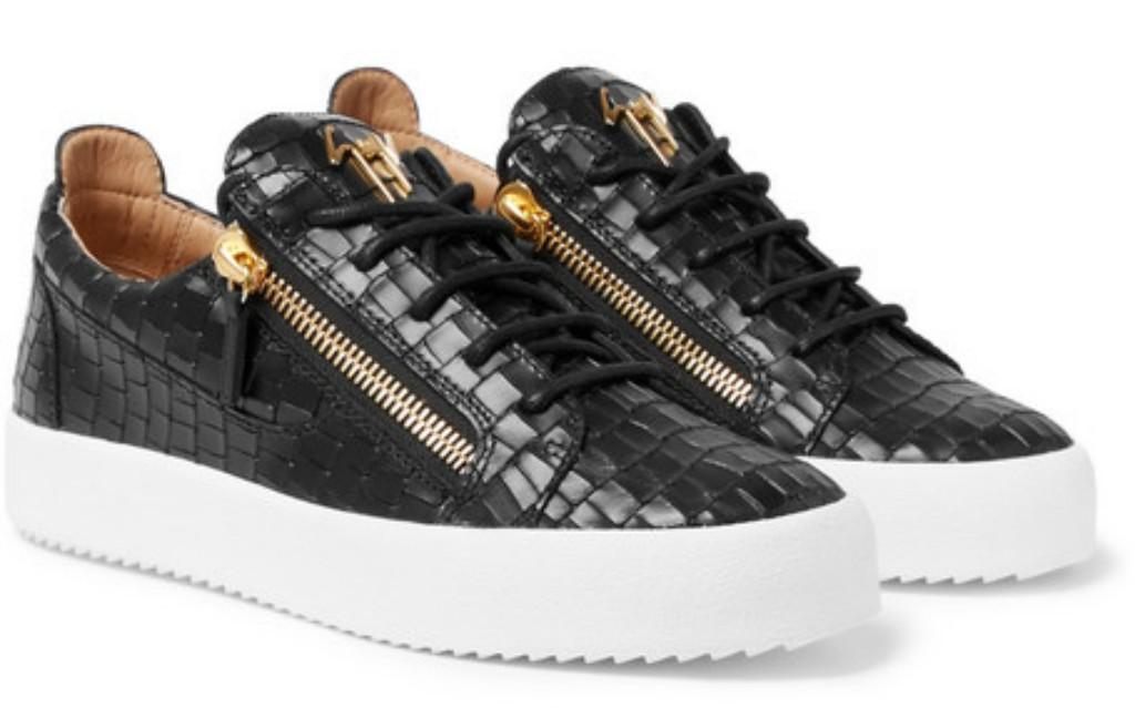 Giuseppe Zanotti Logoball Croc-Effect Leather Sneaker