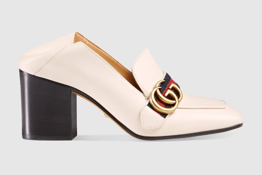 Gucci Leather Horsebit Mid-Heel Loafer
