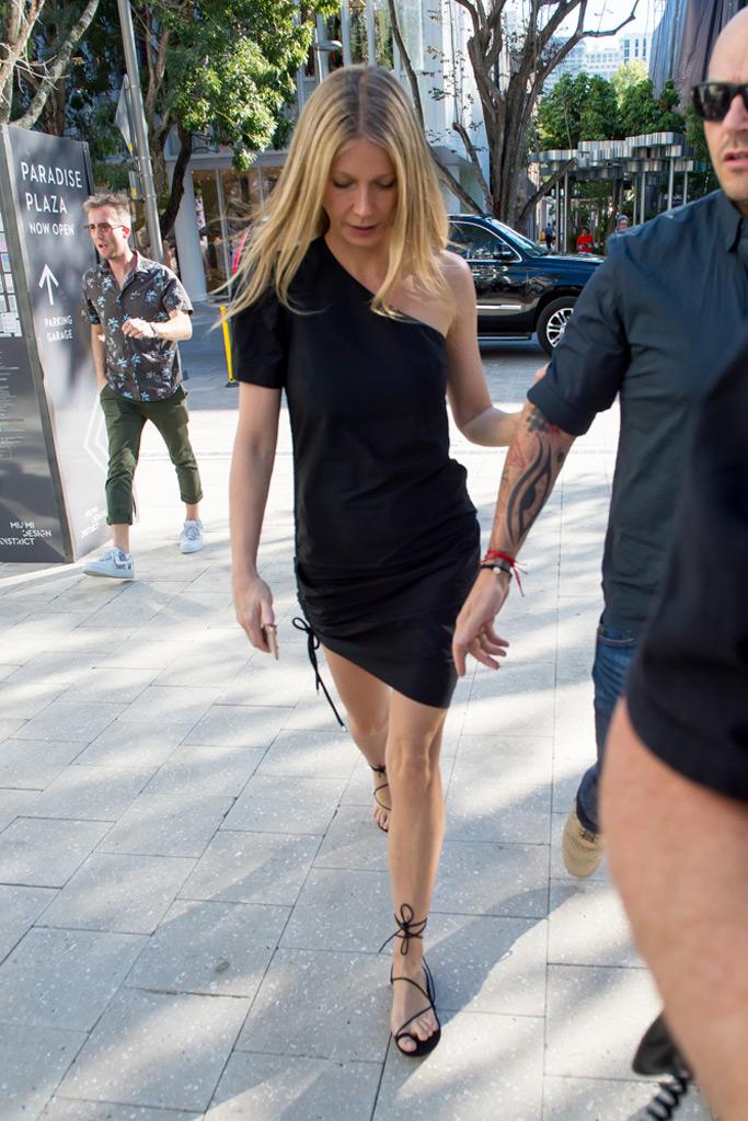 Gwyneth Paltrow, Miami, LBD, strappy sandals, celebrity style