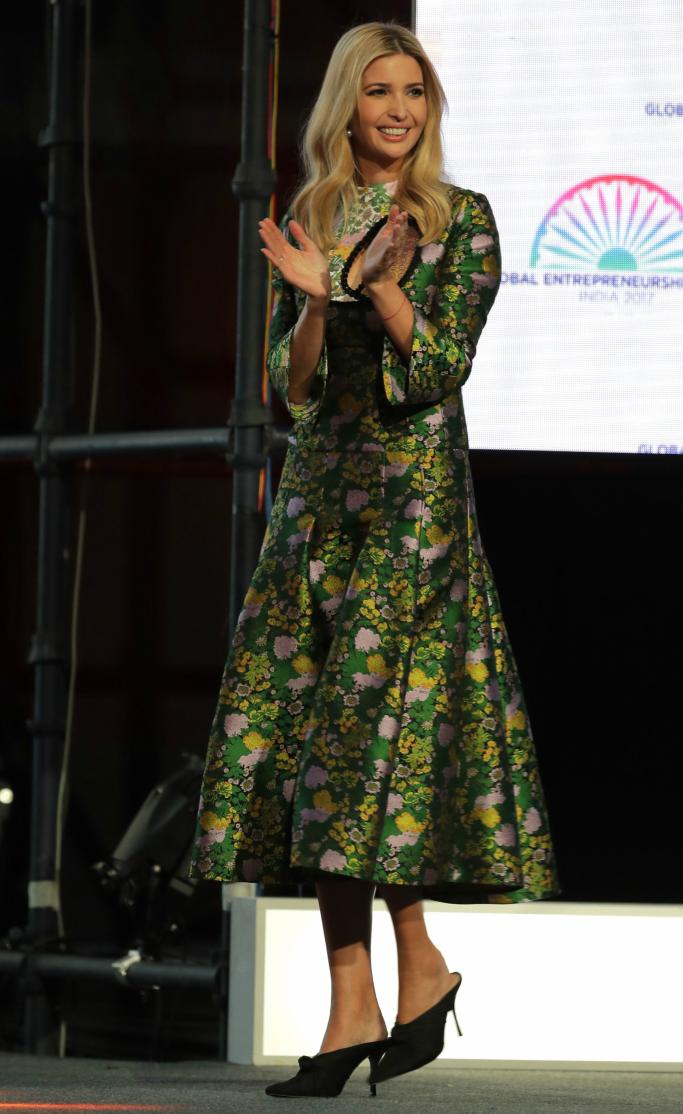 ivanka trump, Erden Geneva Cutout Pleated Jacquard Midi Dress