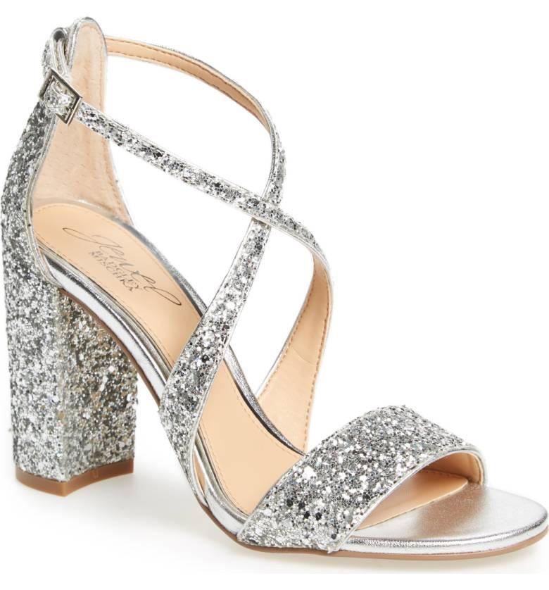 Jewel Badgley Mischka glitter heel