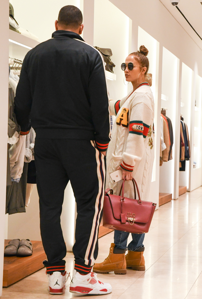 Jennifer Lopez and Alex Rodriguez, shopping, tom ford, gucci, timberland, air jordan