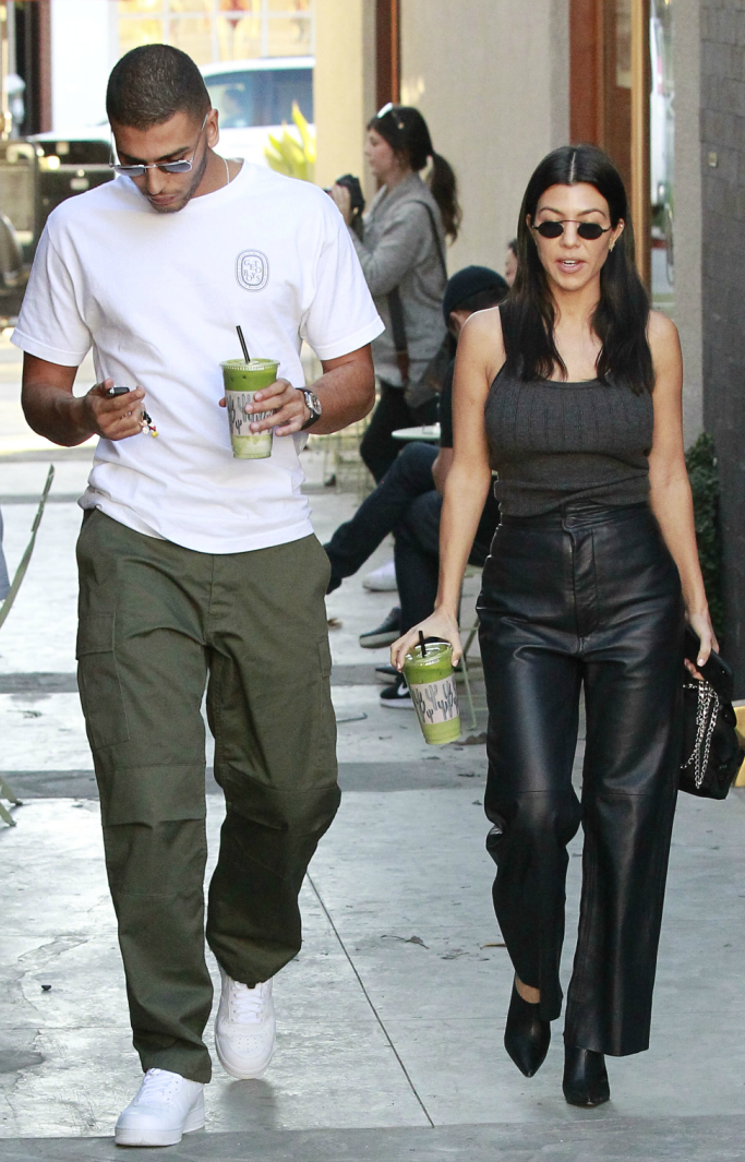 Younes Bendjima, kourtney kardashian, leather pants, celine mules