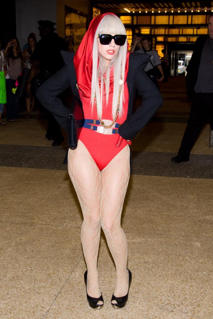Lady Gaga, red bodysuit, 2008