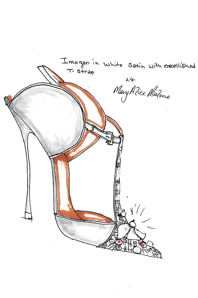 Malone Souliers' fantasy wedding shoe sketch for Meghan Markle by Mary Alice Malone.