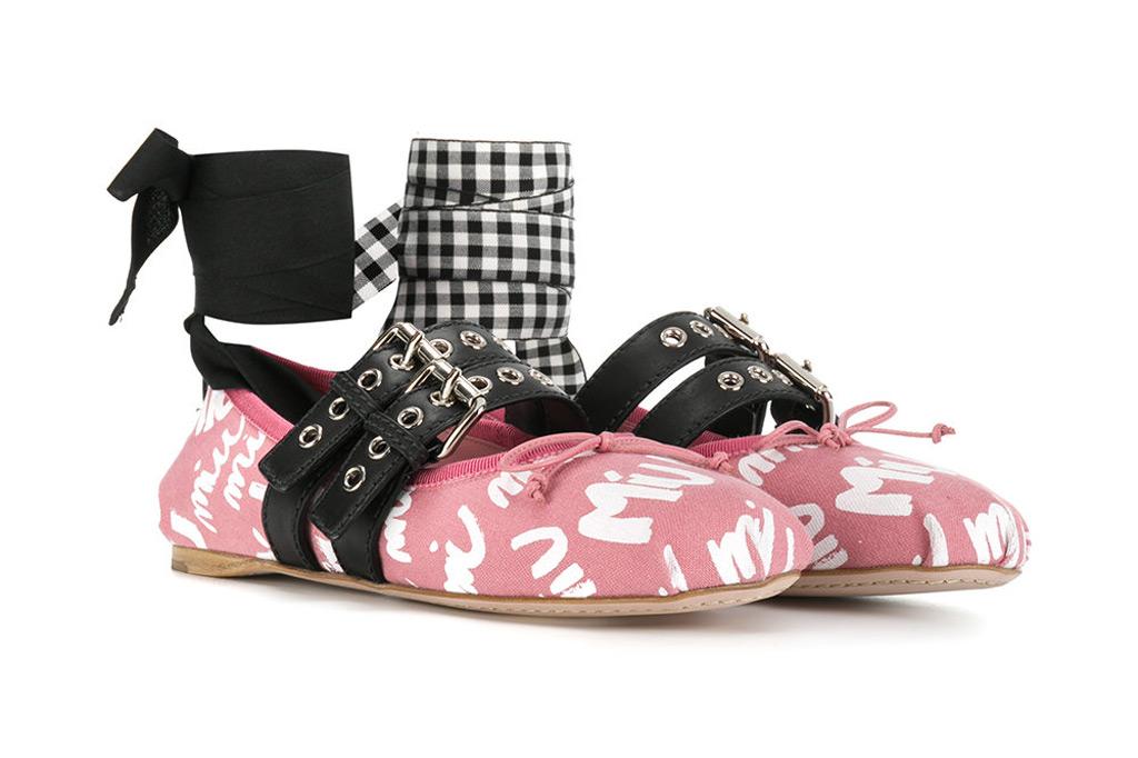 Miu Miu logo graffiti ballerina shoe