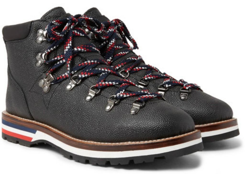Moncler Peak Pebble-Grain Leather Hiking Boot