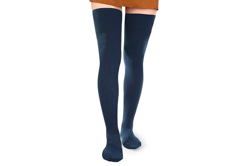 blue socks, thigh high, thigh-high socks, socks, over-the-knee, stockings, Thigh-High Sock Alternatives