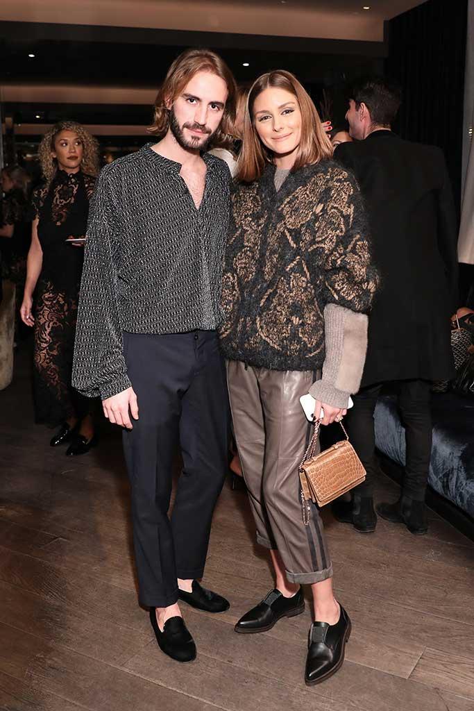 Nicolo Beretta and Olivia Palermo at the Giannico x Barneys NY launch party.