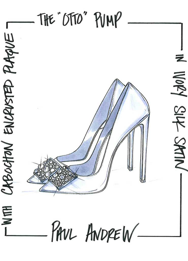 Paul Andrew's fantasy wedding shoe sketch for Meghan Markle.