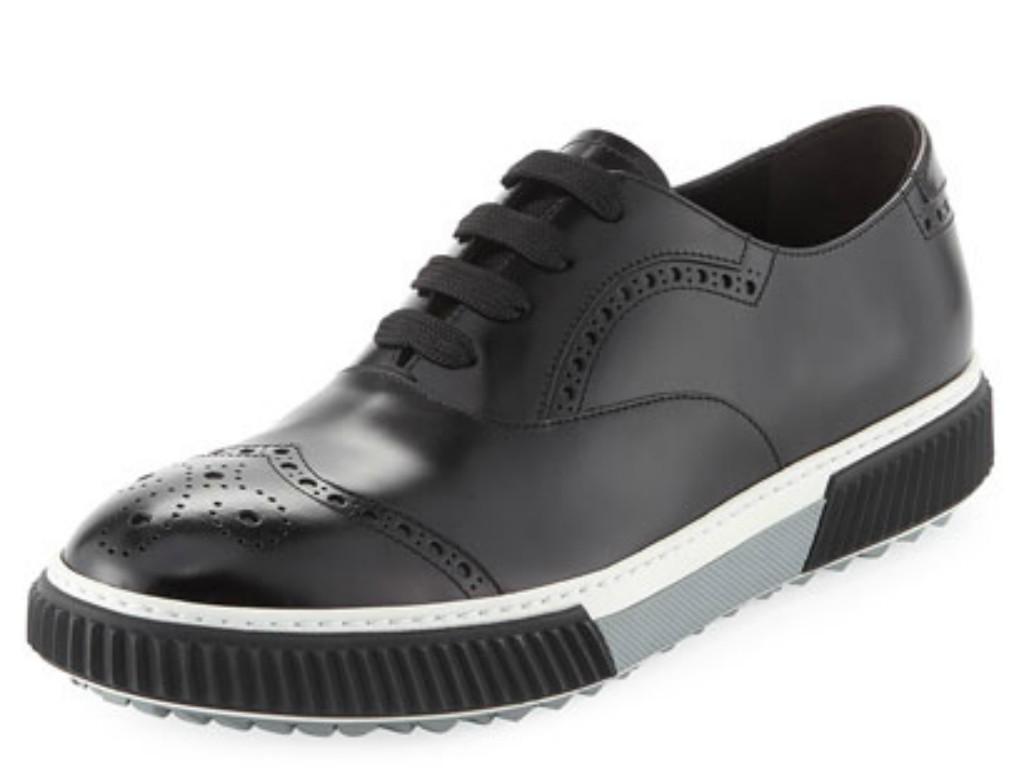 Prada Spazzolato Leather Platform Brogue Sneaker