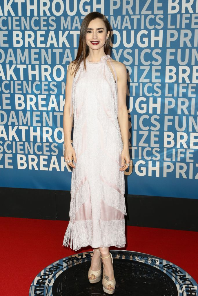 Lily Collins at the 6th annual Breakthrough Prize ceremony.