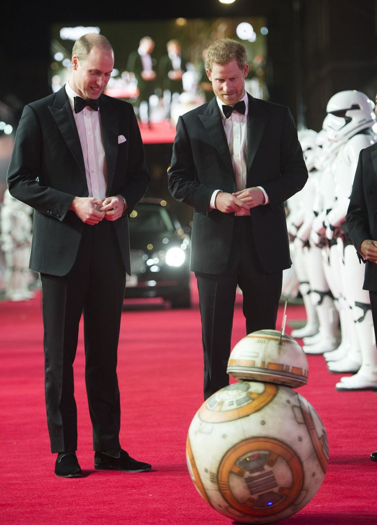 """Prince William and Prince Harry are all smiles at the """"Star Wars: The Last Jedi"""" film premiere."""