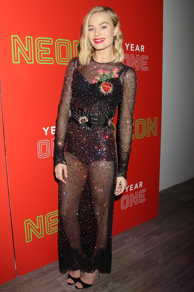 Margot Robbie hosting the Neon Holiday Party in New York.
