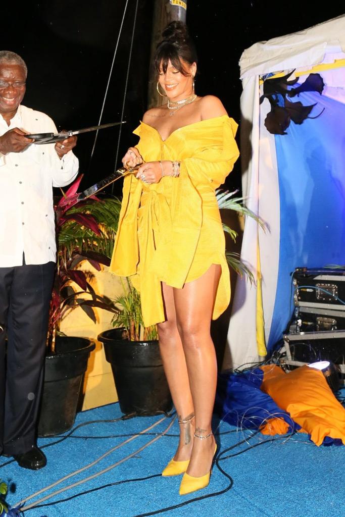 Rihanna, yellow, barbados, street renaming