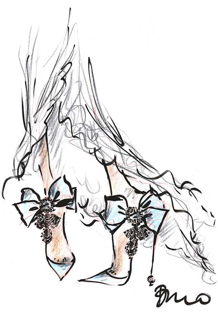 Roger Vivier fantasy wedding shoe sketch for Meghan Markle by Bruno Frisoni.