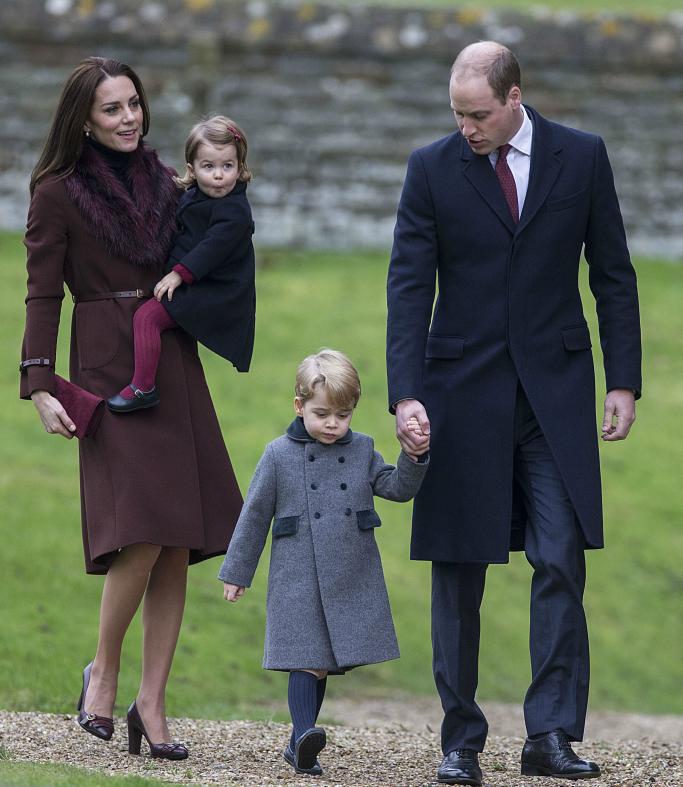 royal family, christmas mass 2016, church, kate middleton, prince george, prince william, princess charlotte