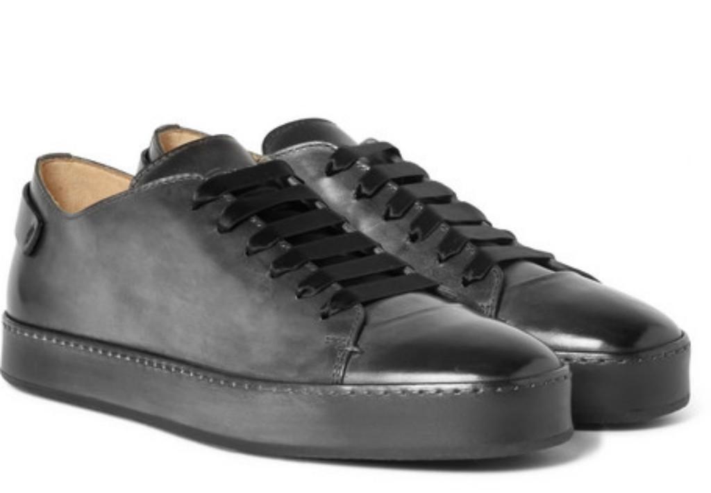 Santoni Burnished Leather Sneaker