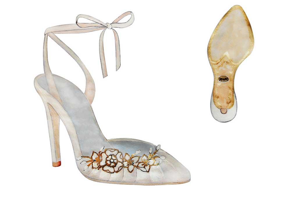 Sarah Flint's fantasy wedding shoe sketch for Meghan Markle.
