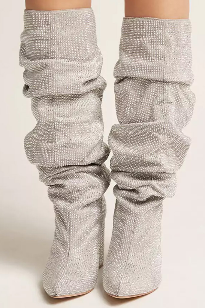 Forever 21 Faux Crystal Knee-High Boots