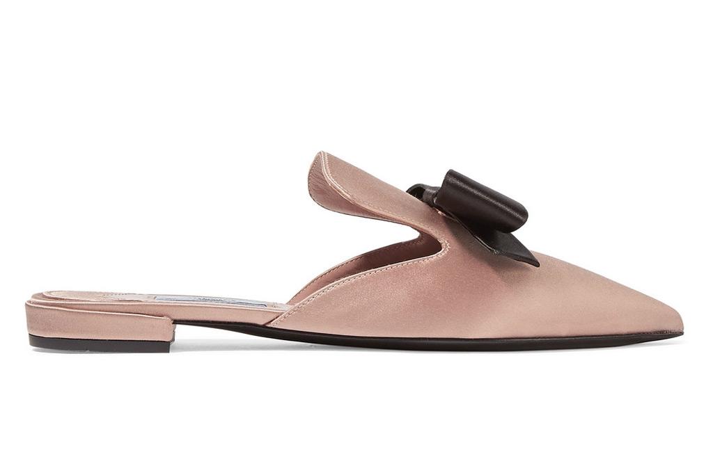 Prada Bow-Embellished Satin Slippers