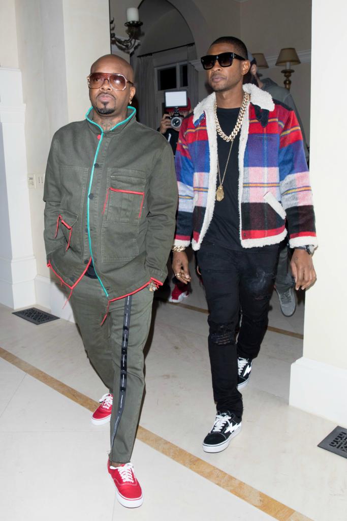Jermaine Dupri and Usher are both seen arriving to DJ Khaled Birthday