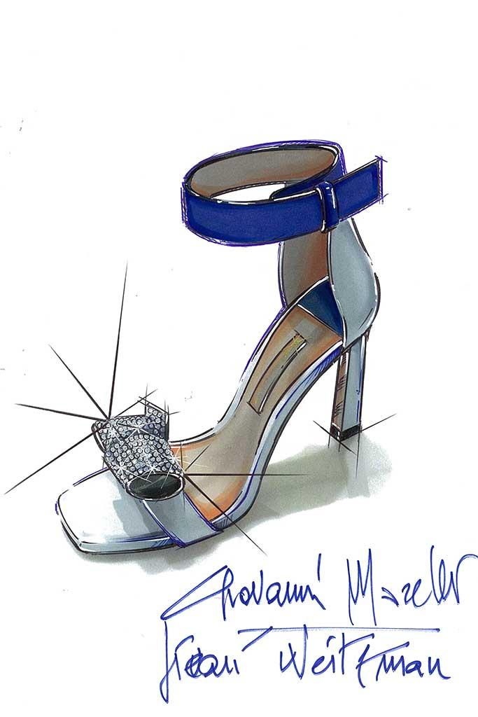 Stuart Weitzman fantasy wedding shoe sketch for Meghan Markle by Giovanni Morelli.