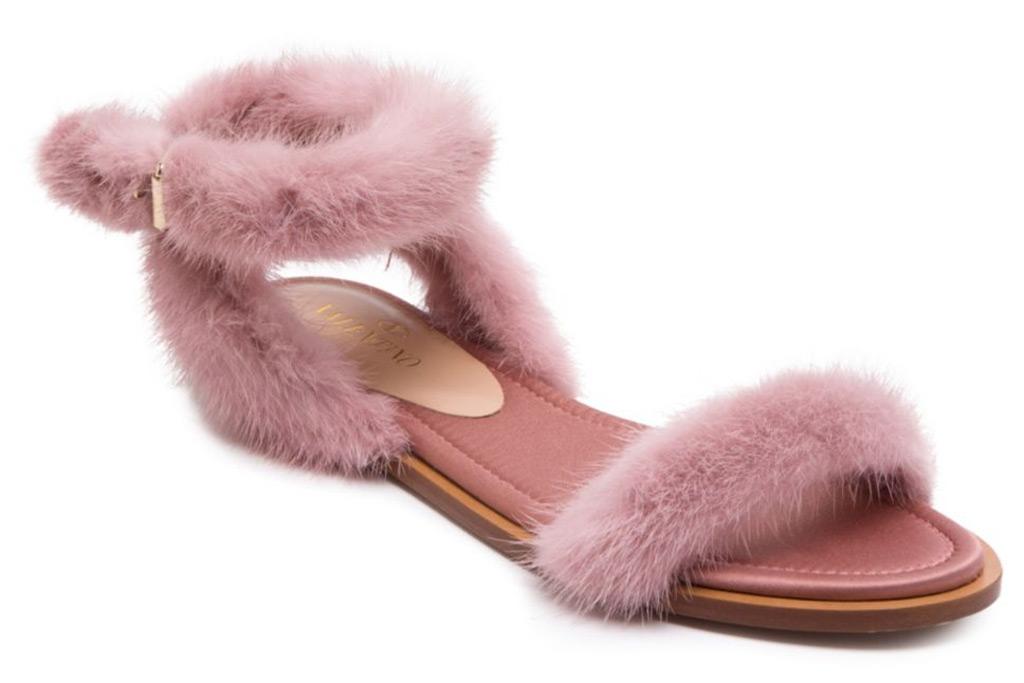Valentino Garavani Mink Fur Ankle-Strap Sandals