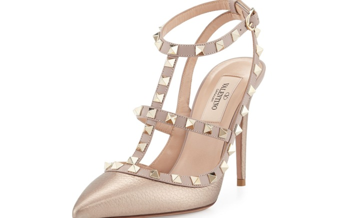 Valentino Garavani Rockstud Metallic Leather T-Strap Pump