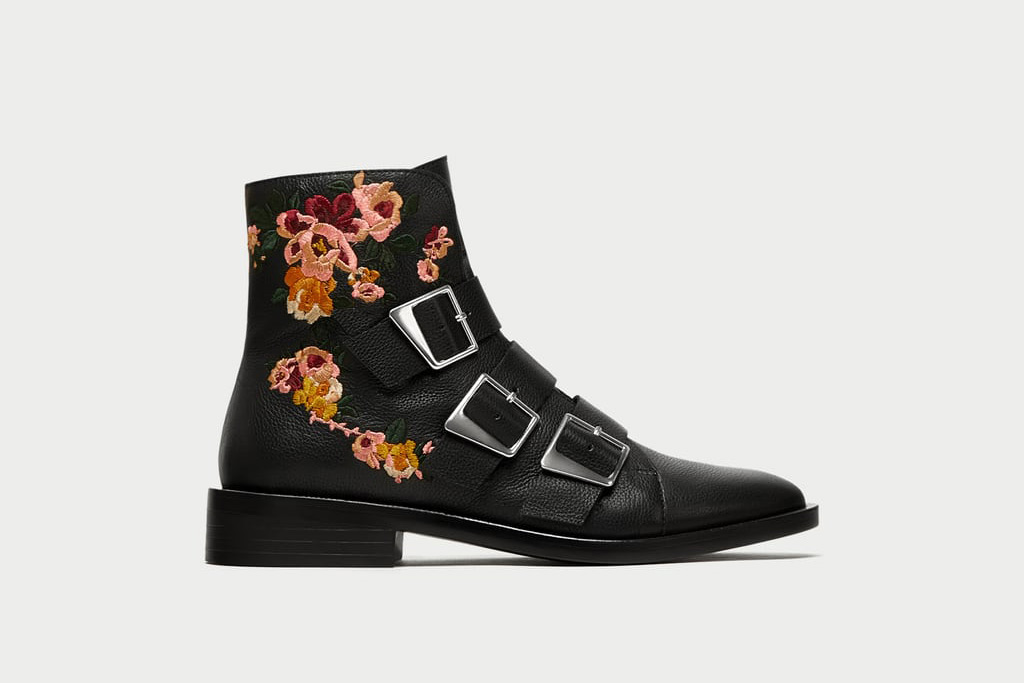 Zara Flat Leather Ankle Boots With Embroidery and Buckles