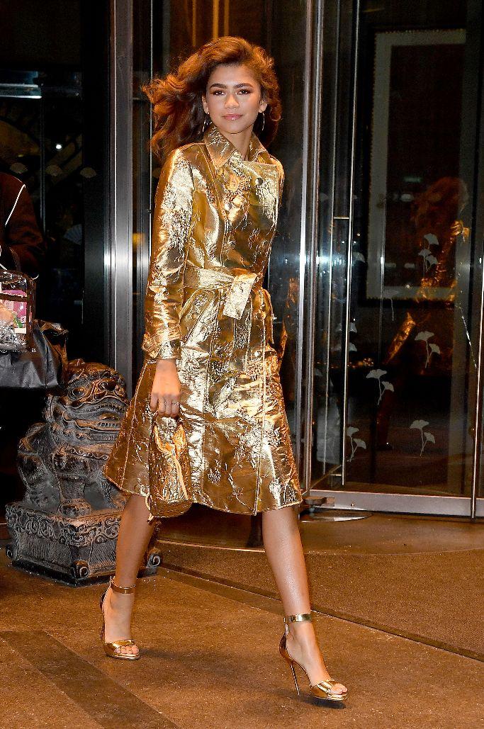 paul andrew sandals, zendaya, Giuseppe di Morabito gold coat dress