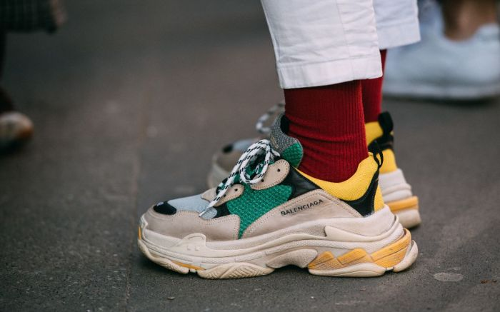 Balenciaga Triple S sneakers, milan men's fashion week street style