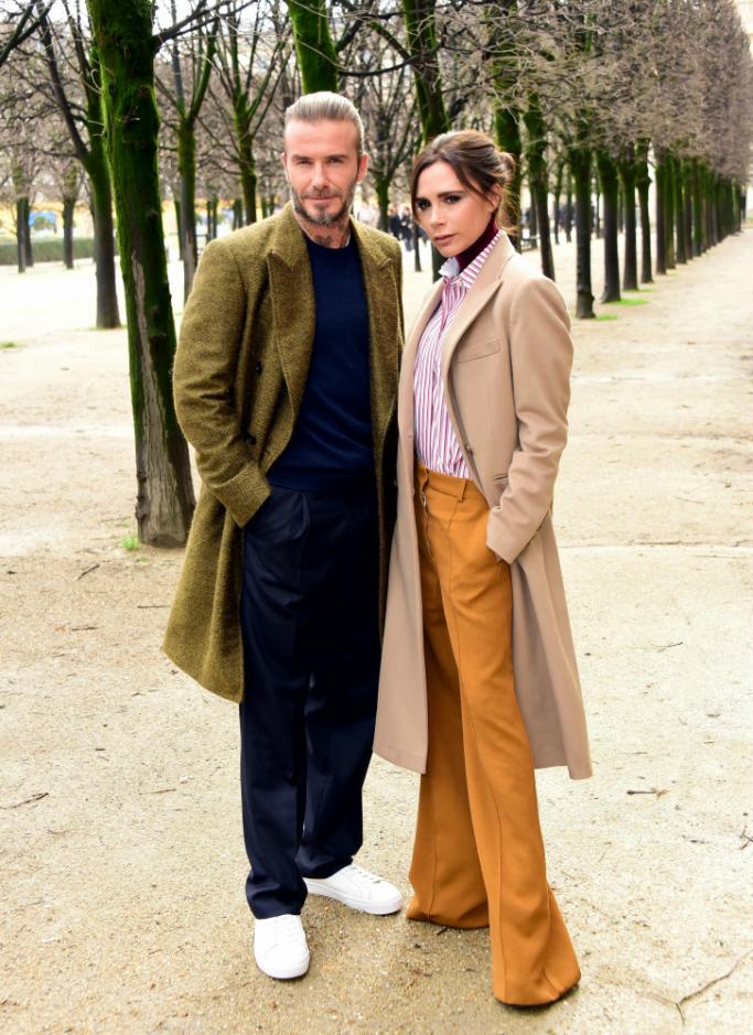 david beckham, victoria beckham, paris men's fashion week, louis vuitton fall 2018 show