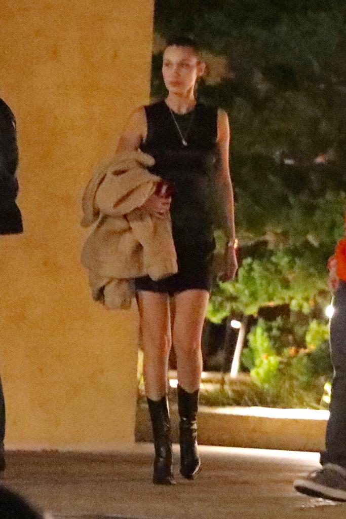 Bella Hadid, Malibu, Nobu, lbd, black boots