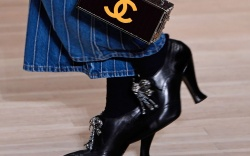 Models on the catwalk, bag detailChanel
