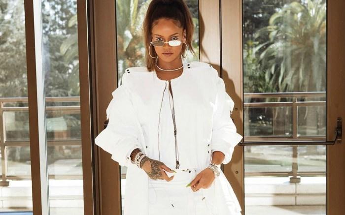 Rihanna posts bold white look on Instagram.