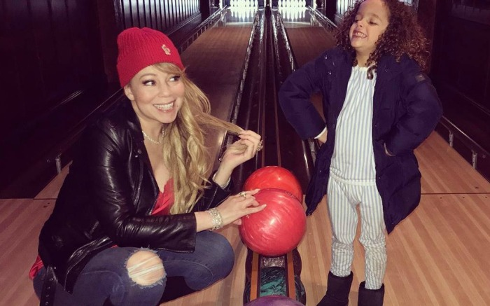 Mariah Carey goes bowling with her son Moroccan.