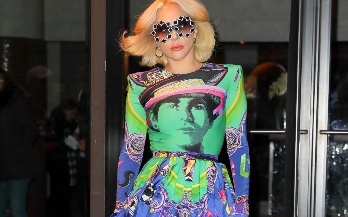 Lady Gaga pulls off a lot of color in one NYC outfit.