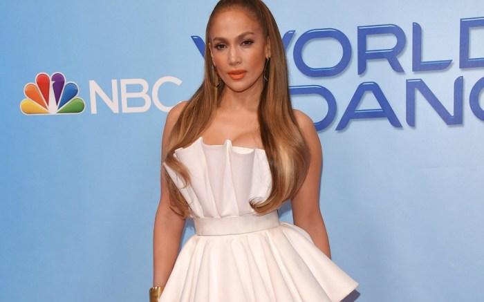 Jennifer Lopez flawlessly pulls of a multi-pleated dress.