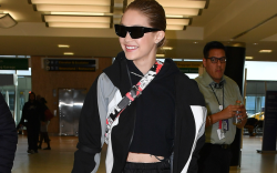 gigi hadid wearing prada at jfk