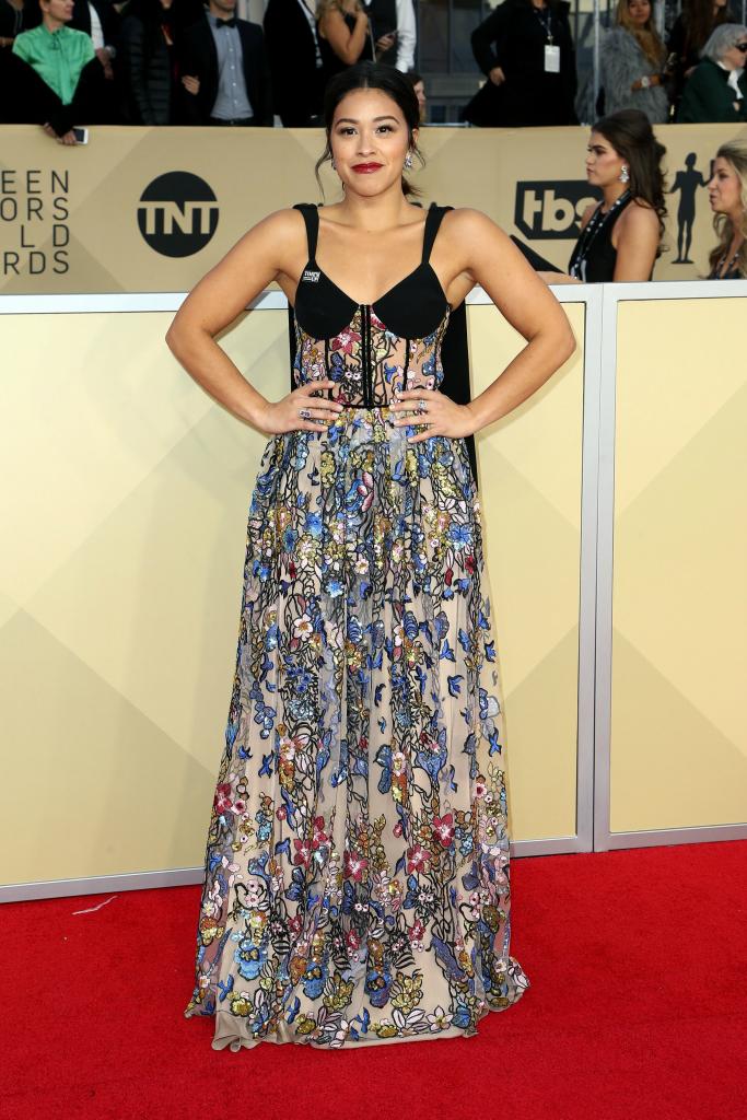 Gina Rodriguez 2018 SAG Awards Red Carpet