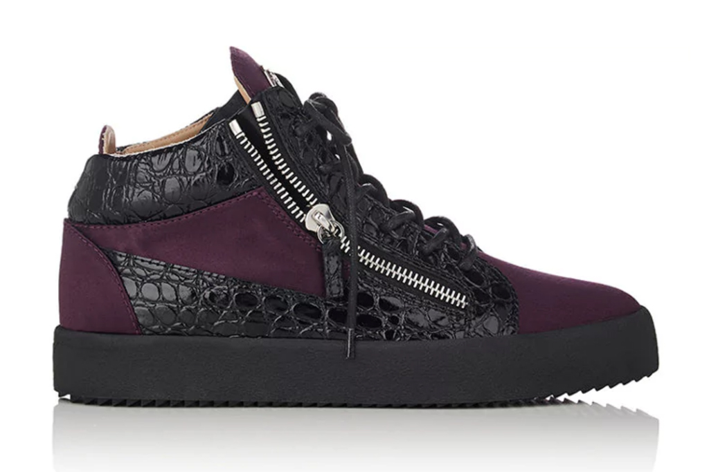 Giuseppe Zanotti Stamped Leather and Satin Double-Zip Sneakers