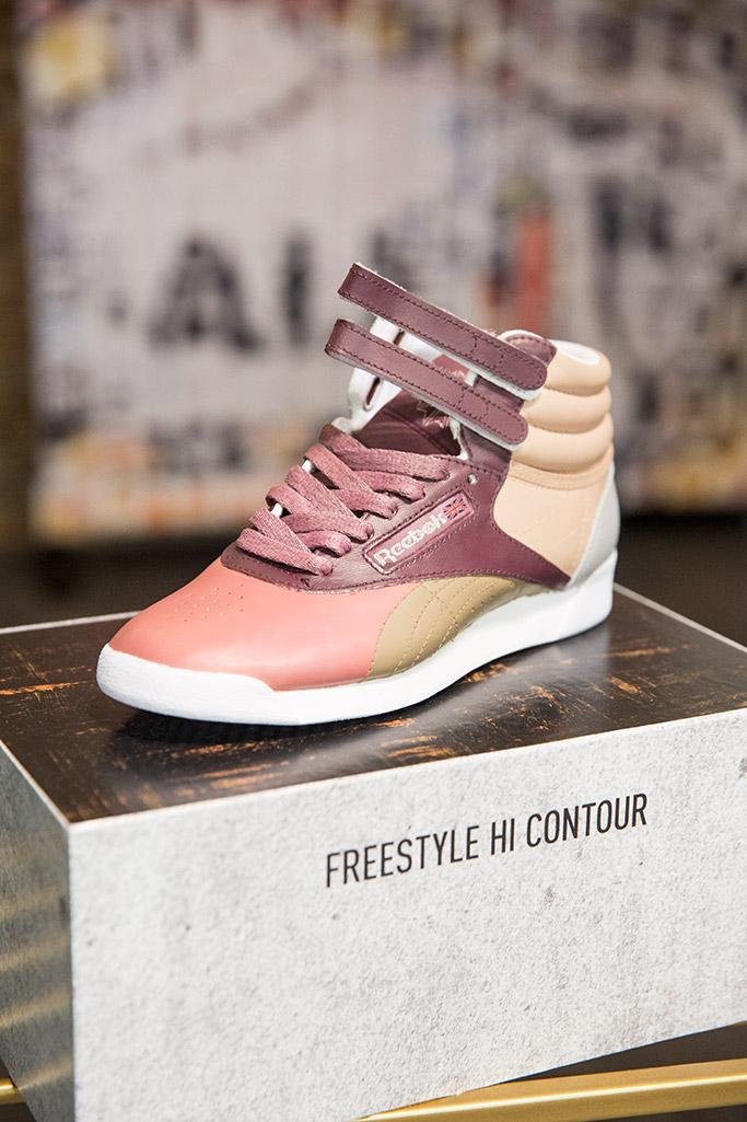 jasmine sanders, reebok classic, freestyle hi contour sneakers