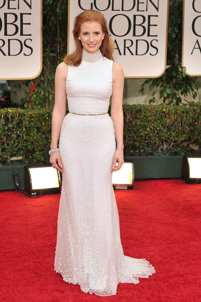 Jessica Chastain, 2012 Golden Globes, Red Carpet Style